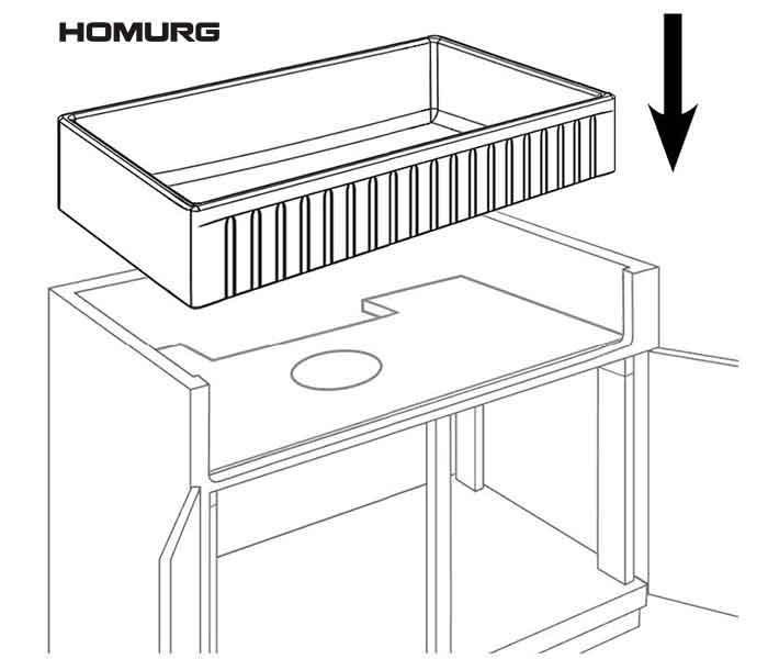 How to Install HOMURG Top Mount White Fireclay Farmhouse Kitchen Sink 2