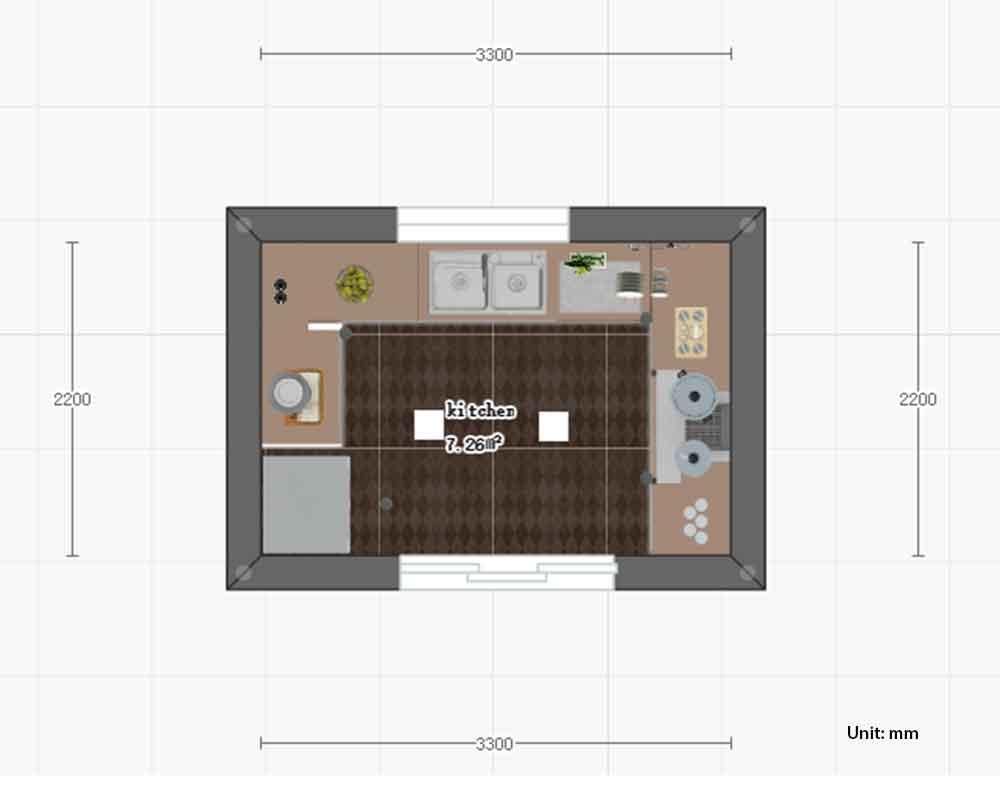 u shaped kitchen design size