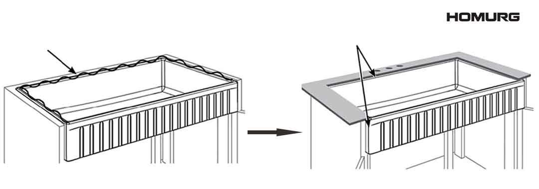 How to Install HOMURG Top Mount White Fireclay Farmhouse Kitchen Sink 3
