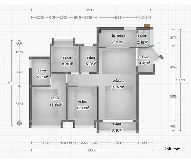 u shaped kitchen size